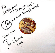 Personally autographed record from Joe Clausell